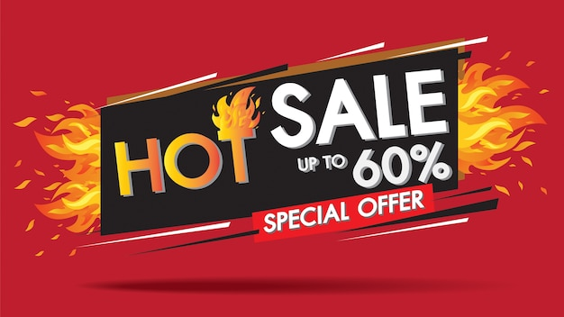 Hot sale fire burn template banner concept design, big sale special 60% offer.
