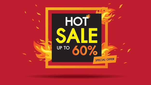 Hot sale fire template square banner with special sale.
