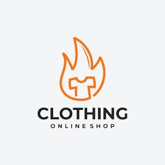 ホットセールのロゴ、衣料品のtシャツ、火のロゴ