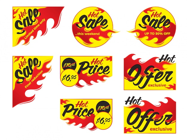 Hot sale price offer deal vector labels stickers. corner form wi