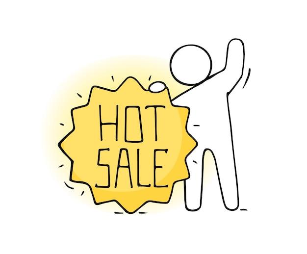 뜨거운 판매 템플릿-만화 격리 된 판매 레이블입니다. 프로모션 가격 할인, 프로모션 카드를 들고있는 사람이있는 광고 배지.