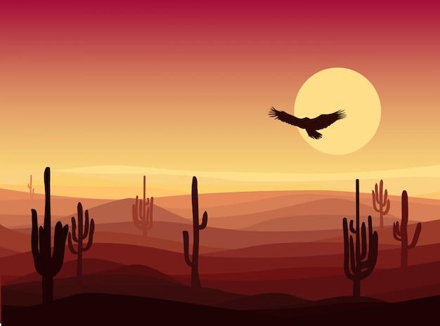 뜨거운 모래 사막 풍경