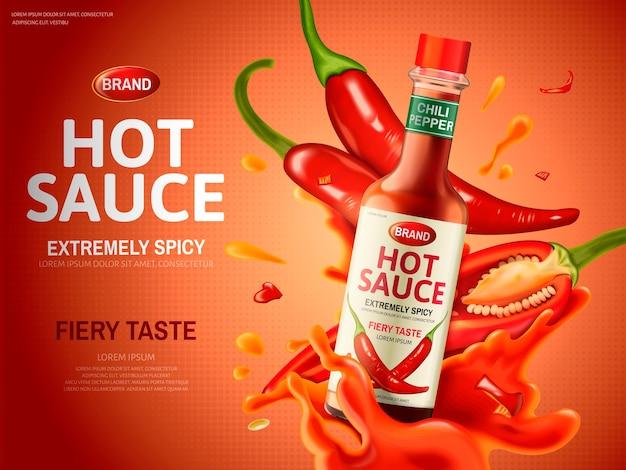 Реклама острого соуса с большим количеством красного перца чили и элементами соуса, красный фон