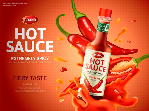 Hot sauce ad with many red chili peppers and sauce elements, red background