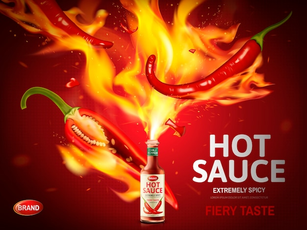 Hot sauce ad with red chili pepper and huge flames poppg out from a bottle, red background