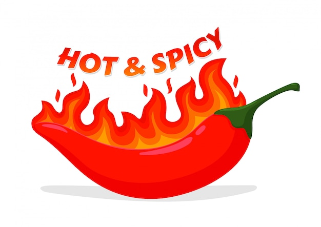 Hot and spicy icon. vector red hot chilli that feels hot like a fire