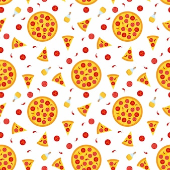 Hot spicy pizza - seamless pattern with slices and ingredients.