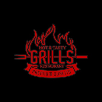 Hot steak house or meat restaurant with red burning fire logo design inspiration