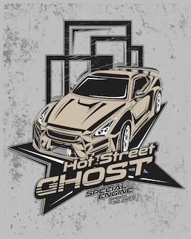 ホットストリートゴースト、現代のレーシングカーのイラスト