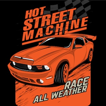 Hot street machines, vector car illustrations
