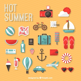 Hot summer icons Free Vector