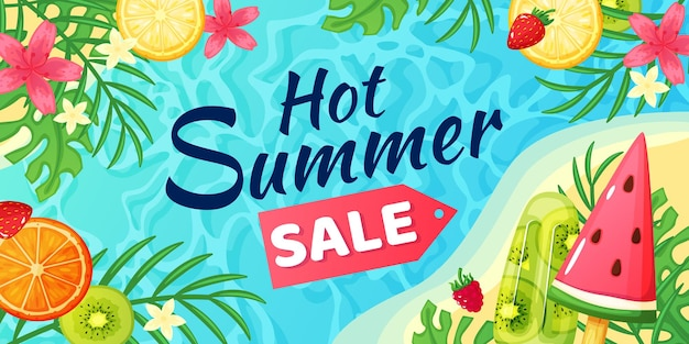 Hot summer sale banner discount offer flyer with beach ocean tropical palm leaves fruits ice cream