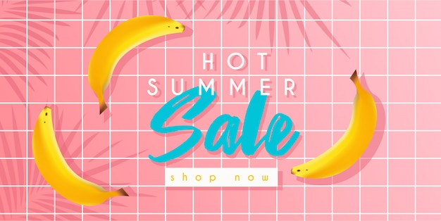Hot summer sale banner with bananas