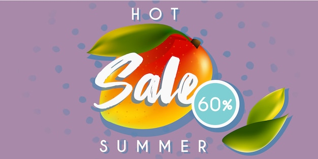 Hot summer sale banner with mango