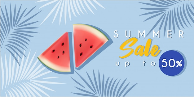 Hot summer sale banner with watermelon
