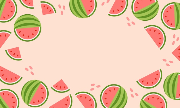 Hot summer sale banner with watermelon.