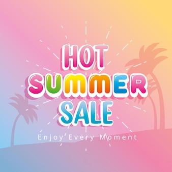 Hot summer sale over beach background. summer banner