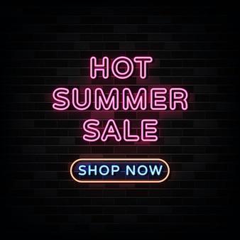 Горячие летние распродажи неоновые вывески. дизайн шаблона в неоновом стиле