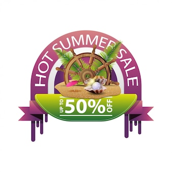 Hot summer sale, round discount web banner for your business