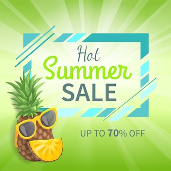 Hot summer sale up to 70 percent off promo banner