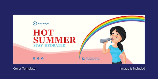 Hot summer stay hydrated cover page template