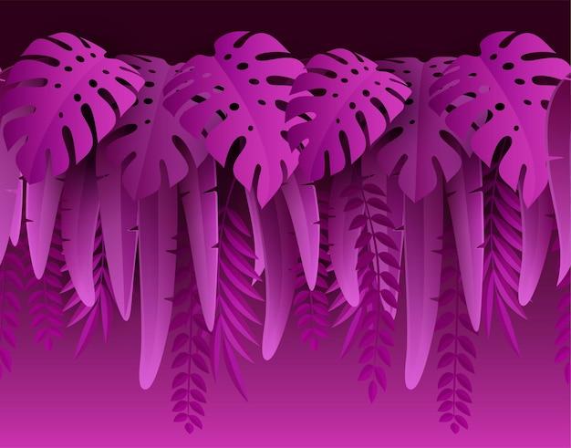 뜨거운 여름 열대 잎 종이 컷 스타일 몬스테라와 야자수 잎 열대 테두리 그림