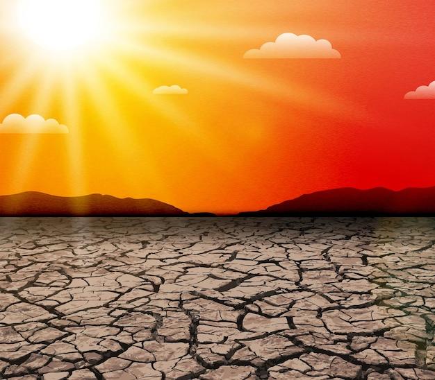 뜨거운 태양. 열파. 자연의 가뭄. 지구 온난화와 기후 변화 개념