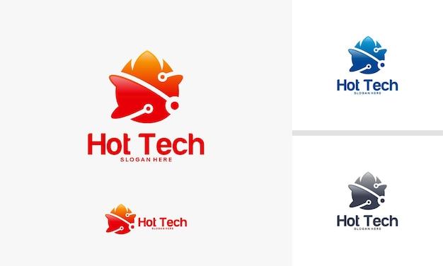 Hot technology logo designs concept, fire and technology logo symbol