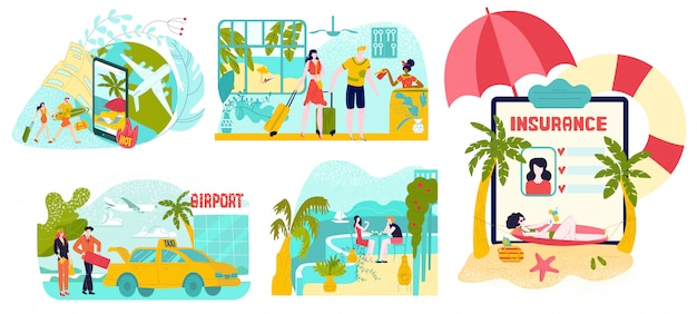 Hot tour, travel, planning summer vacation, tourism set of  illustrations isolated on white.