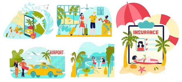 ホットツアー、旅行、夏休み、白で隔離されるイラストの観光セットを計画します。