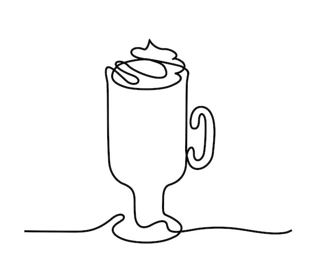Горячий венский кофе со взбитыми сливками. рисование одной линии. стакан венского кофе, покрытый сверху.