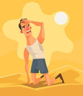 더운 날씨와 여름날 사막 만화 일러스트에서 피곤 불행한 남자 캐릭터