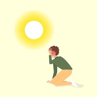 더운 날씨. 남자는 매우 더운 여름날 일광 화상을 입었습니다.