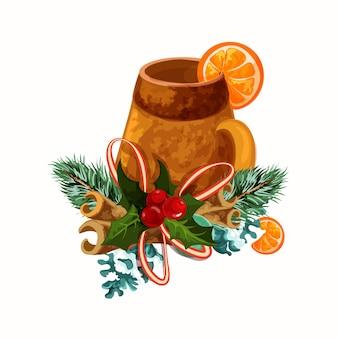 ホットワインマグ。クリスマスの装飾が分離されました