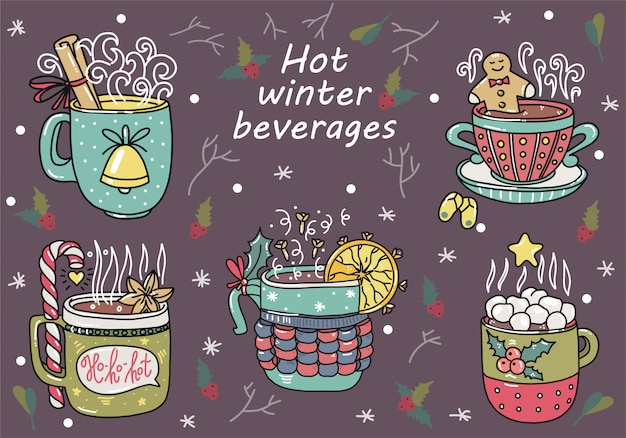Hot winter beverages. hand drawn doodle style. cute cartoons