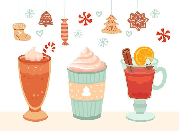 暑い冬の飲み物。クリスマスマグカップ、クリスマスフードココアコーヒーまたはチョコレート。ホリデークッキーバナー、ラテグリューワインカップベクトルイラスト。クリスマスチョコレートドリンク、クリスマスコーヒー漫画