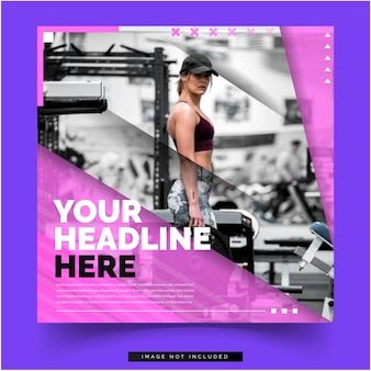 Hot woman on gym banner social media template