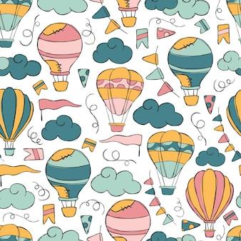 Hotairballon doodle vector seamless pattern.