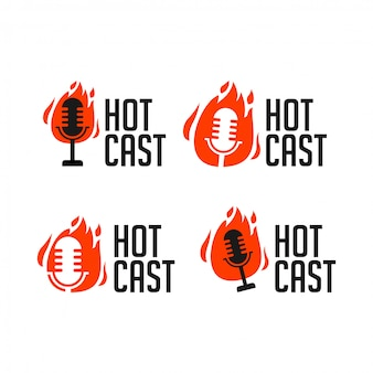 Hotcast podcast radio icon logo illustration