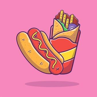 Хот-дог и кебаб мультяшный иллюстрации. быстрое питание