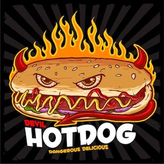 ホットドッグ悪魔のロゴ屋台の食べ物のロゴ
