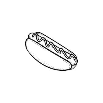 ホットドッグ手描きアウトライン落書きアイコン。印刷、ウェブ、モバイル、白い背景で隔離のインフォグラフィックのソーセージとホットドッグパンのベクトルスケッチイラスト。