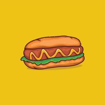 ホットドッグアイコン分離ベクトルイラストとアウトライン漫画のシンプルな色