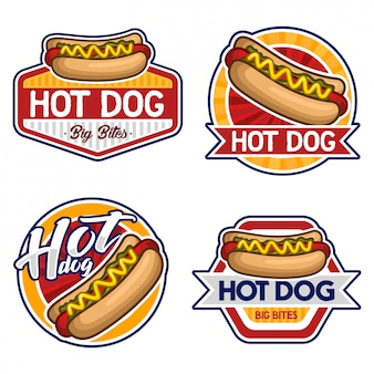 Hotdog logo stock vector set