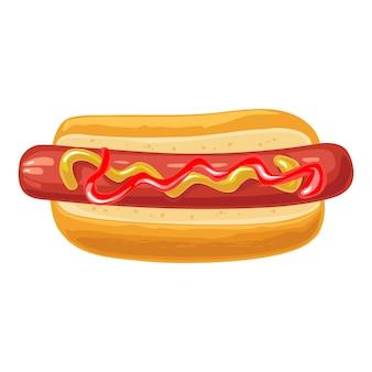 Хот-дог с горчицей и кетчупом. вид сверху. векторная иллюстрация квартиры цвета для плаката, меню, брошюры, сети. значок, изолированные на белом фоне.