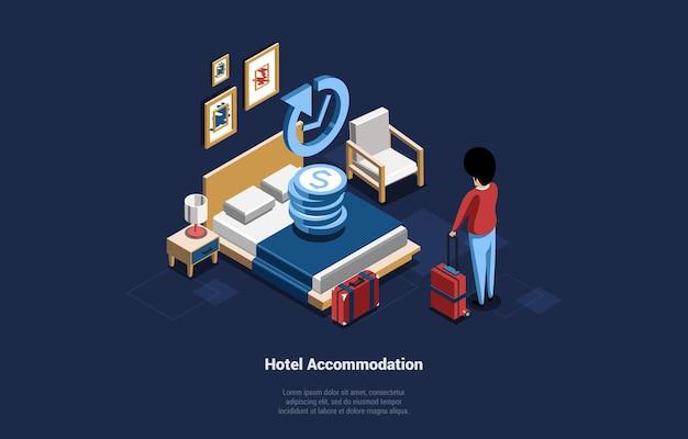 漫画の3dスタイルのホテル宿泊サービスコンセプトベクトルイラスト。毎日の賃貸リビングルームのベッドの近くにスーツケースを持って立っている男性キャラクターの等尺性の構成。暗い背景、テキスト。