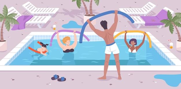 Иллюстрация деятельности отеля с анимацией бассейна