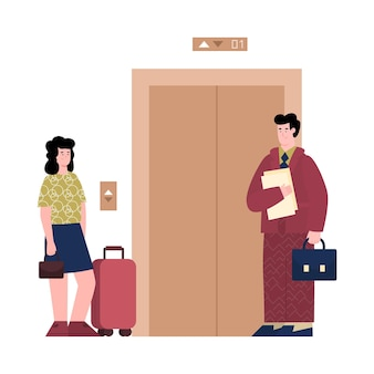 Hotel administrator accompanies the guest to room illustration