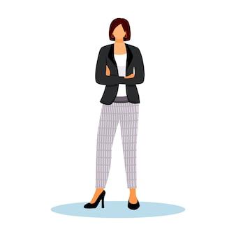 호텔 관리자 평면 컬러 일러스트입니다. 교차 팔으로 서 자신감 여자입니다. 관리 직원. 흰색 배경에 환대 서비스 작업자 격리 된 만화 캐릭터