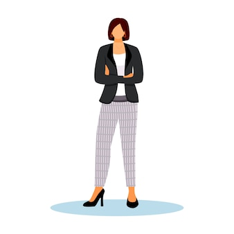 Hotel administrator flat color illustration. confident woman standing with crossed arms. administration staff. hospitality service worker isolated cartoon character on white background